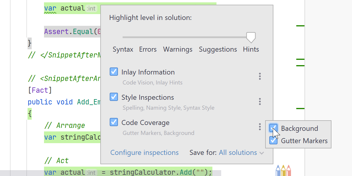 Code coverage in solution highlight level options