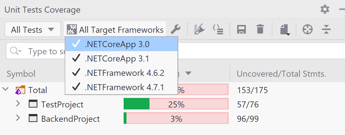 Improved support for projects targeting multiple frameworks