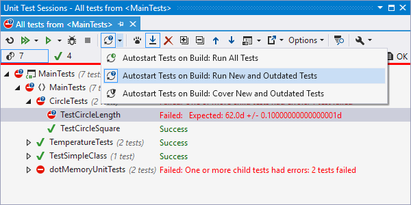 Continuous testing in any session