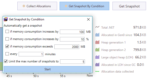 Getting snapshots by condition