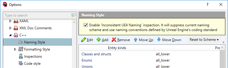 ReSharper: Applying UE4 naming conventions