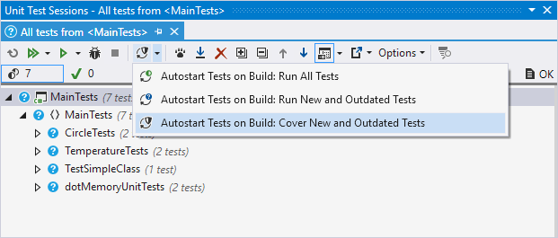 dotCover: Selecting continuous testing mode
