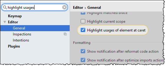 highlight usages option