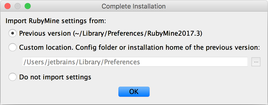rm installation importsettings