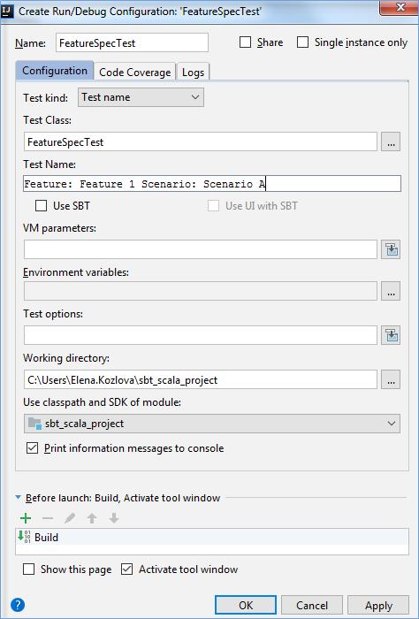 scalaの実行 デバッグ テスト 公式ヘルプ intellij idea