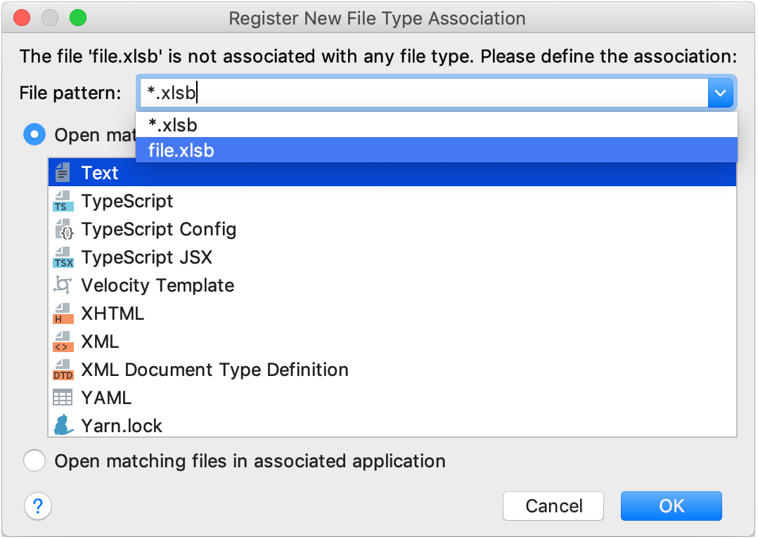 Registering a new file type