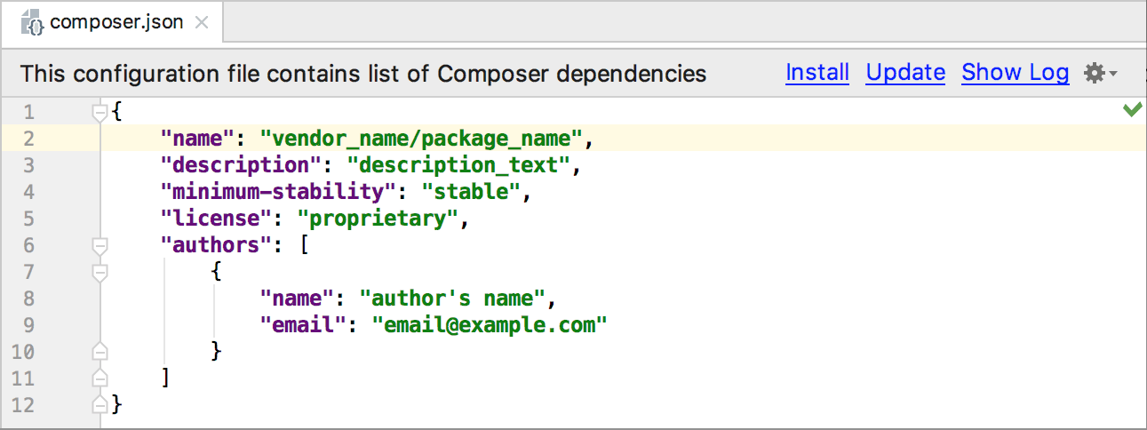 the composer.json file stub