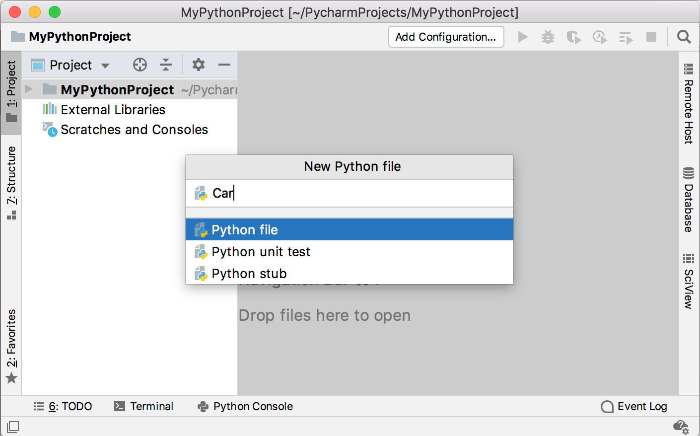 Creating a new Python file