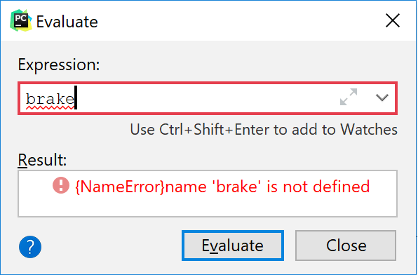 Evaluate expression dialog displays an error
