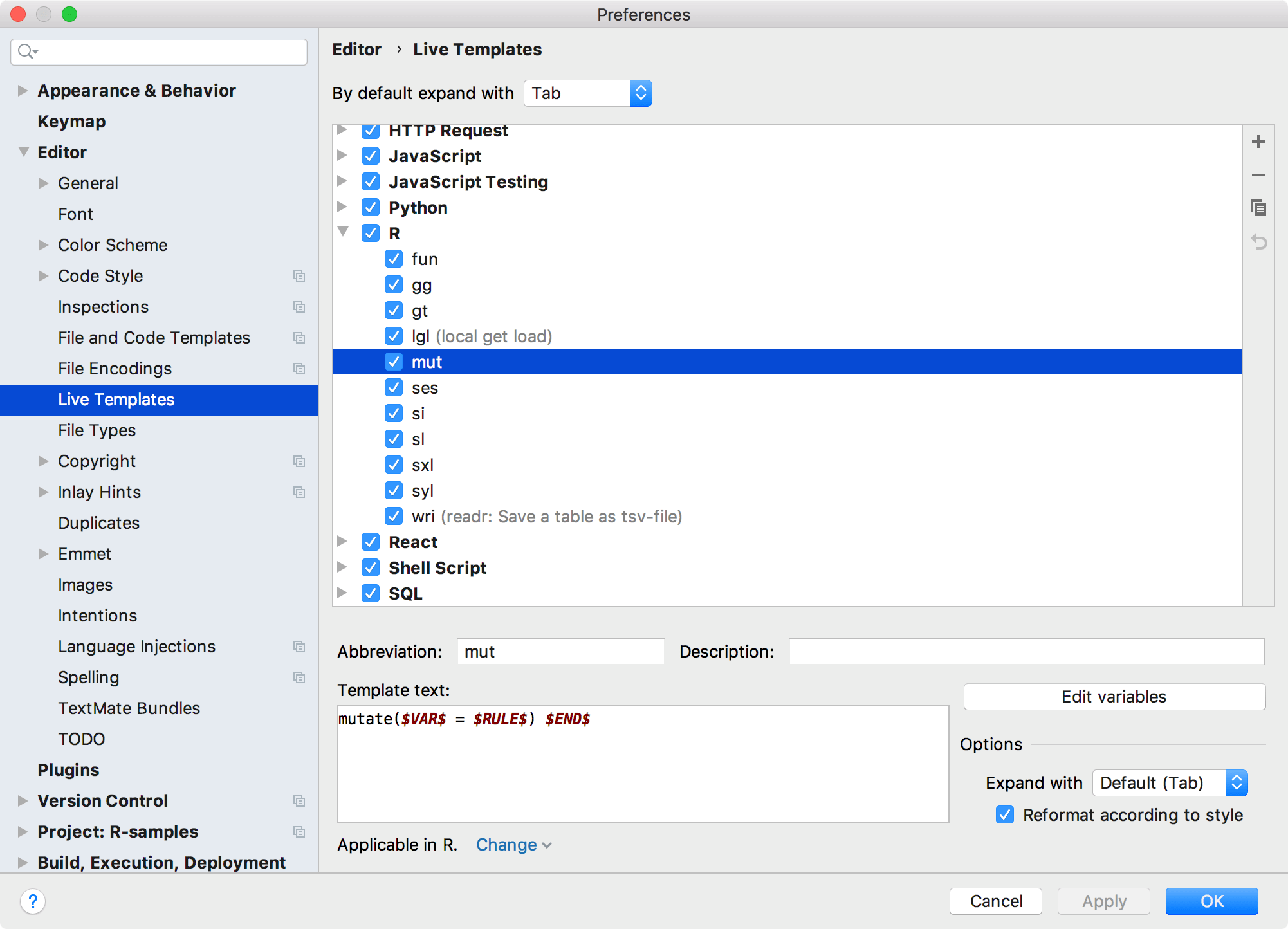 Live template settings for R