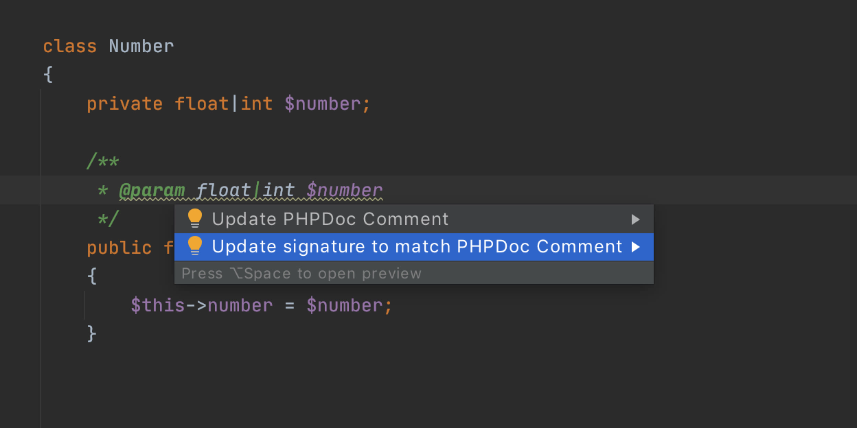 Convert PHPDoc to native union types