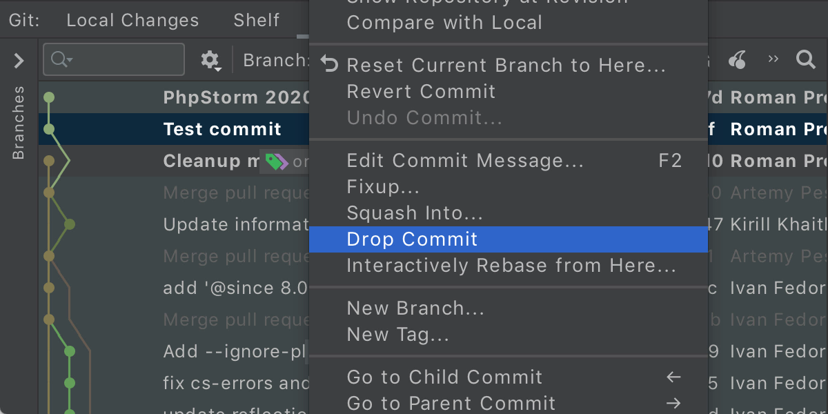 Drop commit action