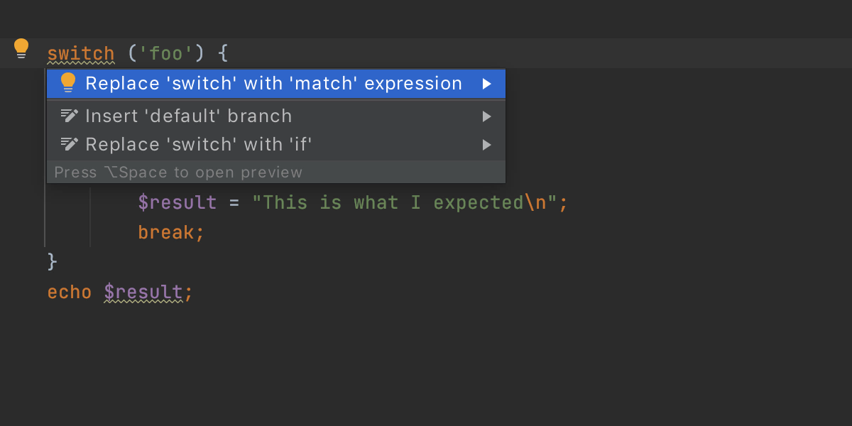 Convert switch statement to match expression