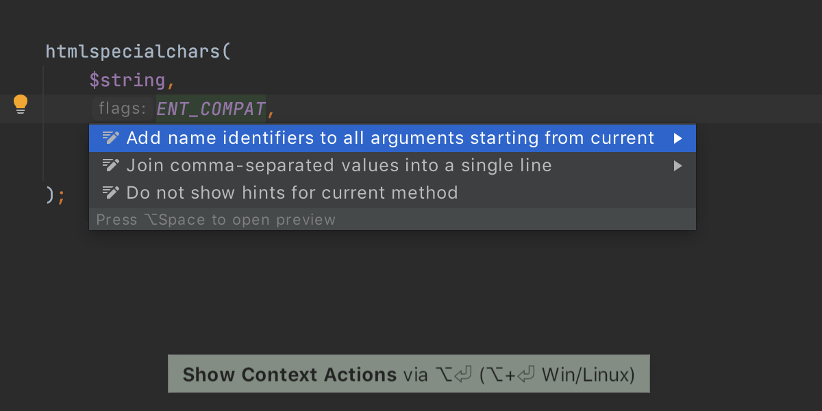 Add named arguments identifiers