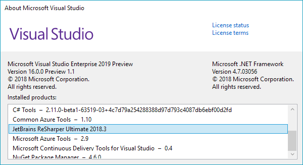 Support for Visual Studio 2019 Preview 1