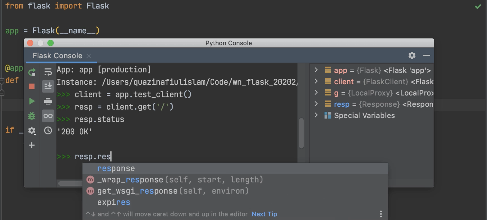 Python console becomes a Flask shell when Flask is enabled