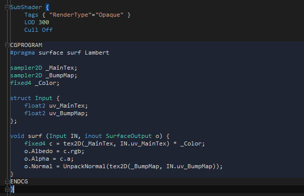 Bettere code highlighting in Unity shaders