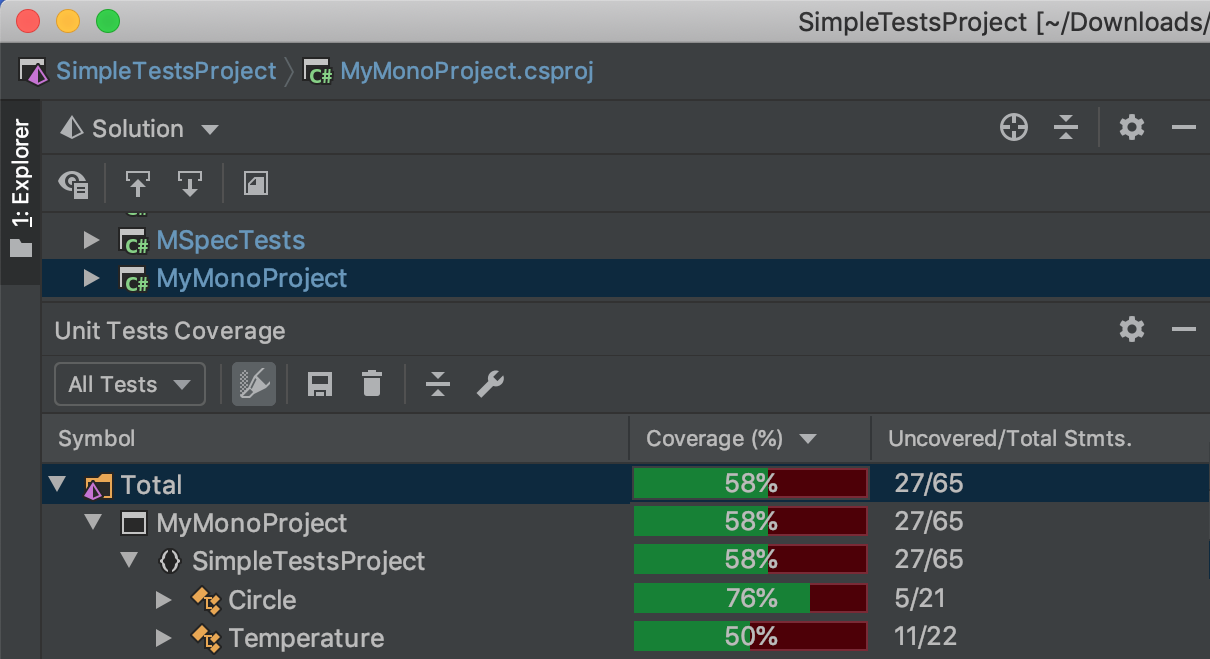 Code coverage of Mono applications and unit tests