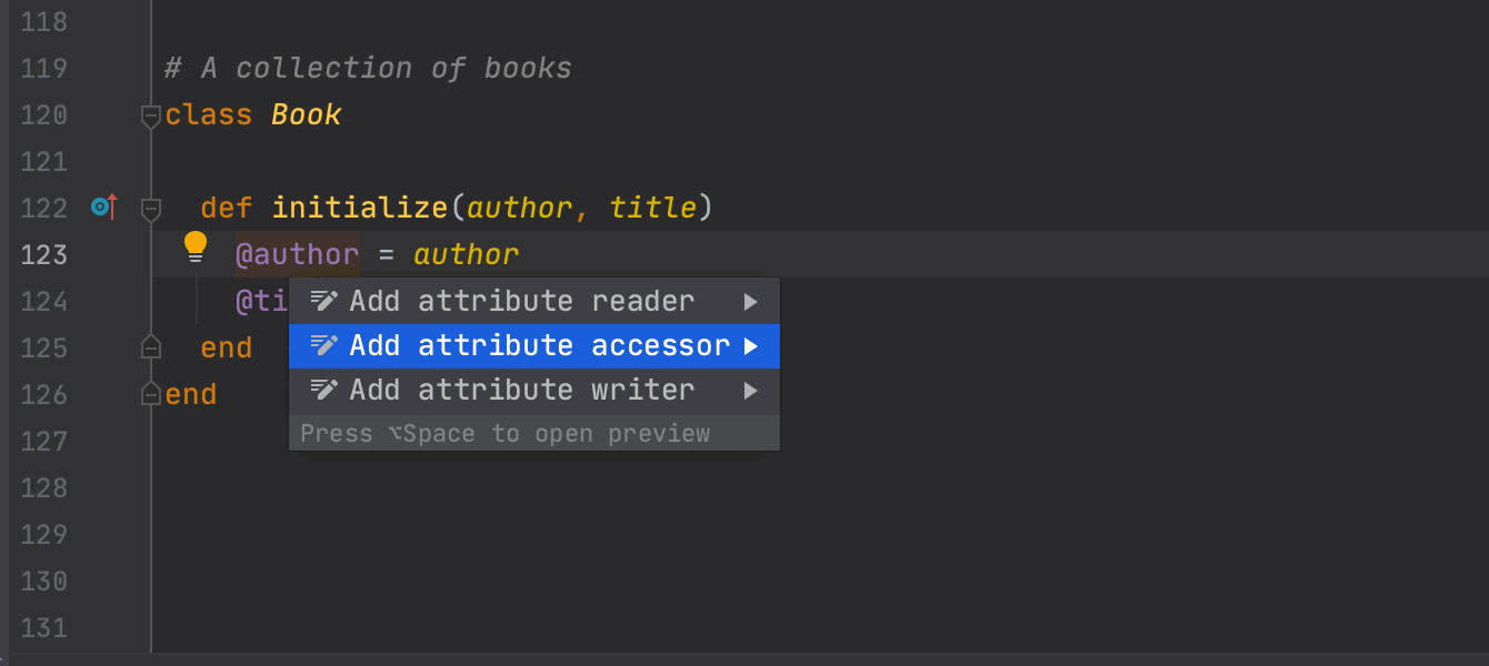 Add an attr_accessor/reader/writer to an instance variable