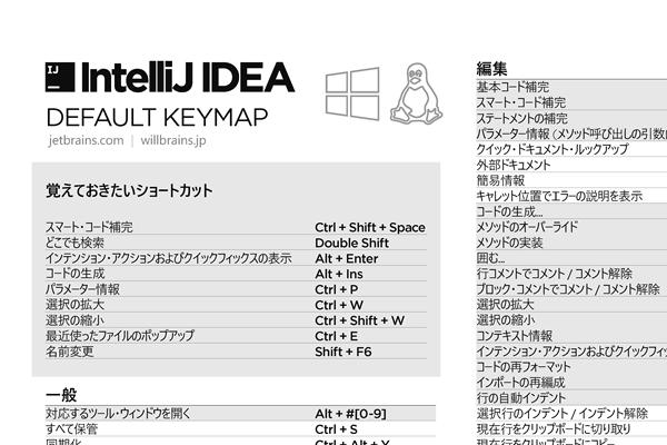 Intellij 日本語ショートカット一覧 Windows PDF